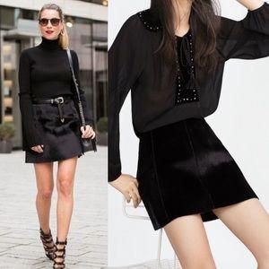 Zara Pony Hair Skirt in Black